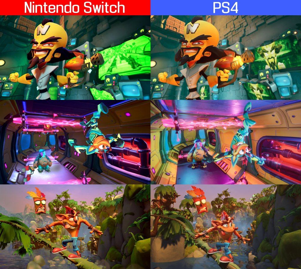 Comparación entre Crash Bandicoot 4: It's About Time de PS4 y Nintendo Switch.