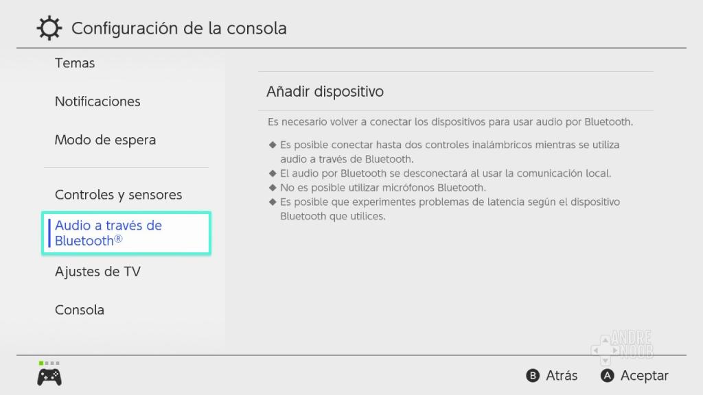 Audio a través de bluetooth del Nintendo Switch.