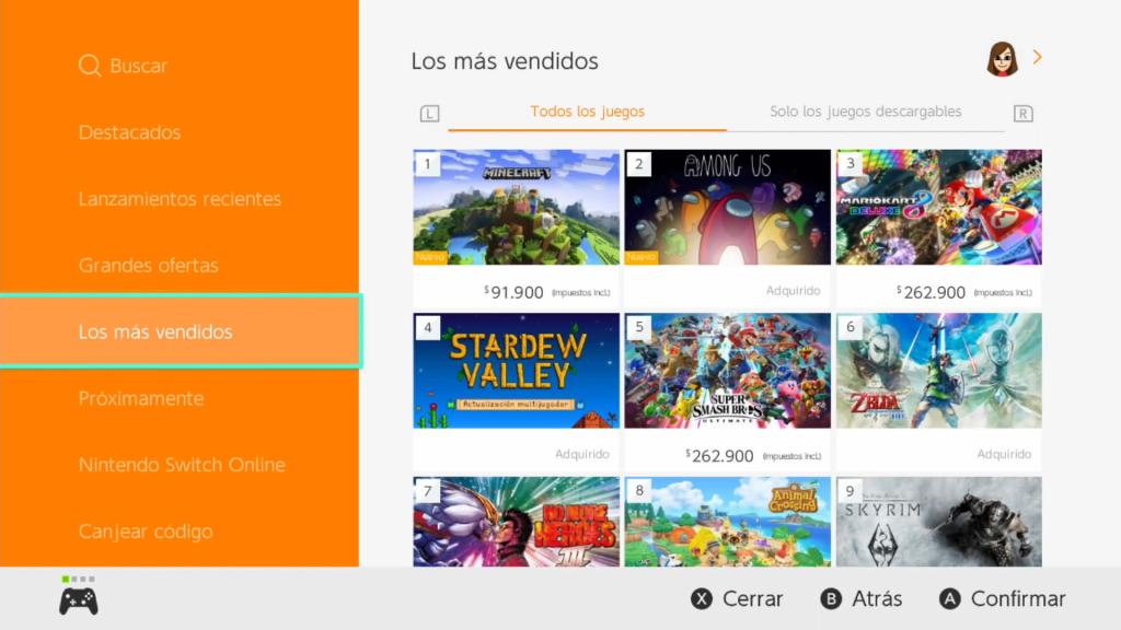 Los precios de los juegos ya están regionalizados en la eShop Colombia.